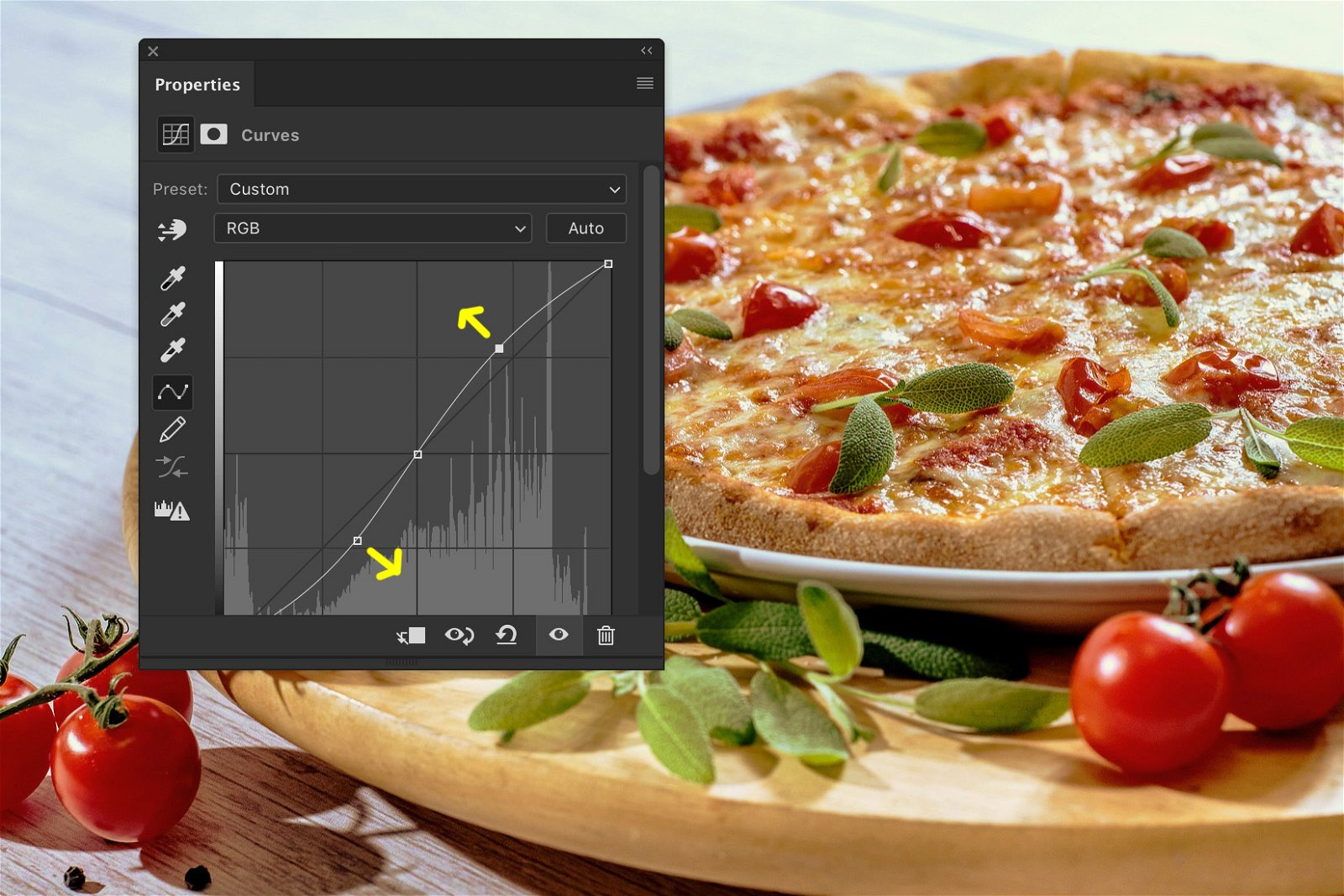 A screenshot showing how to edit food photography in Photoshop - contrast