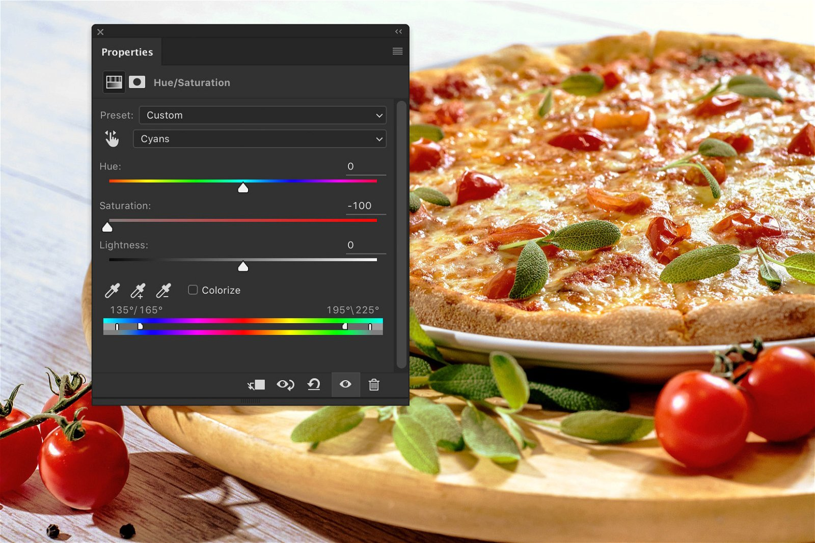 A screenshot showing how to edit food photography in Photoshop - saturation
