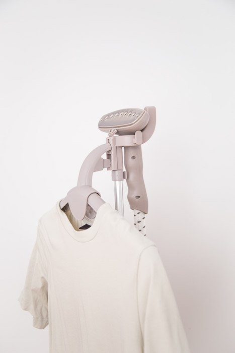 A white shirt in a heavy duty commercial steamer - how to photograph steam