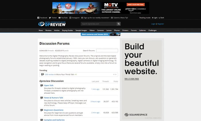 A screenshot of DPReview homepage - best photography forums