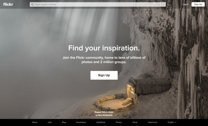 A screenshot of the Flickr homepage - best photography forums