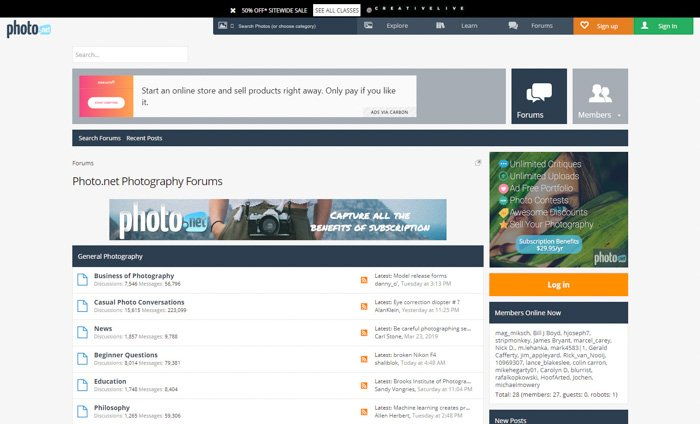 A screenshot of the Photonet homepage - best photography forums