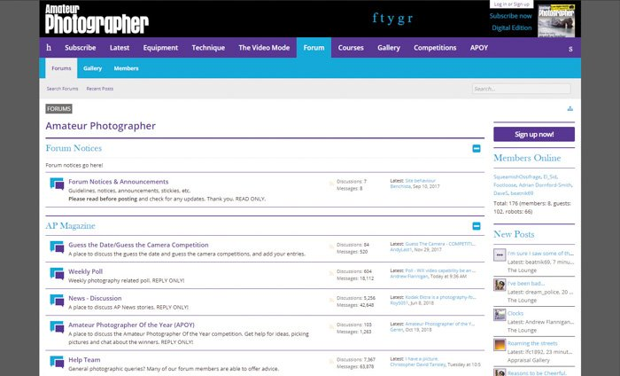 A screenshot of the Amateur Photographer homepage - best photography forums