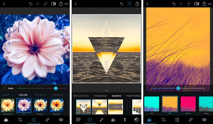 A screenshot of Adobe Photoshop Express photo editing app for smartphone - best Photoshop app