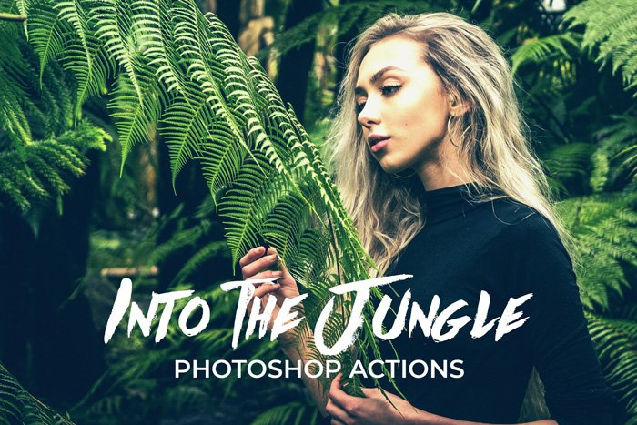 screenshot of Into the Jungle Photoshop action homepage - Best Photoshop Filters