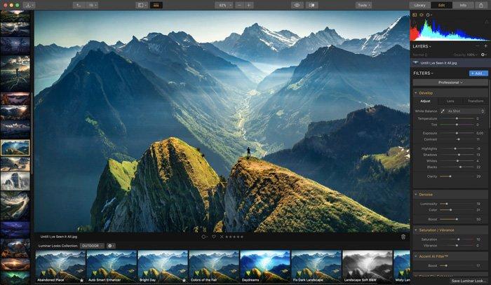screenshot of Luminar 3 interface - Best Photoshop Plugins