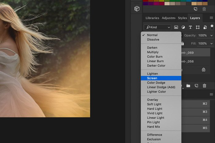 A screenshot of how to use Photoshop overlays - blending mode