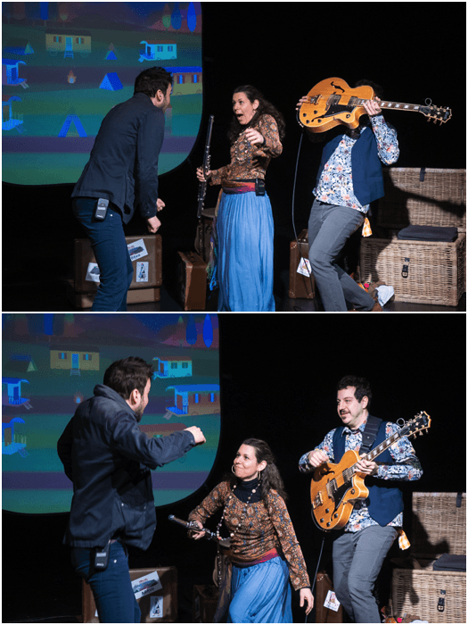 A theatre photography diptych of actors performing onstage