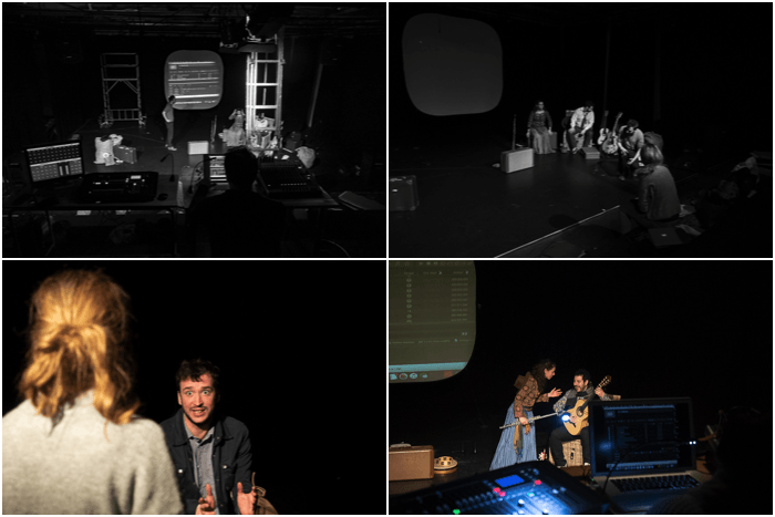 A grid of Classic backstage images at a theatre photography shoot