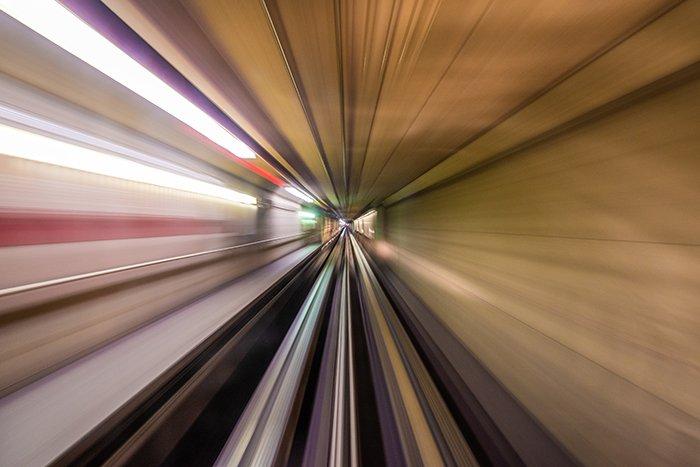 View of an underground tunnel in motion blur.