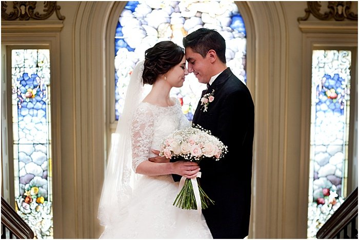 A wedding portrait diptych of the couple embracing - wedding flash photography