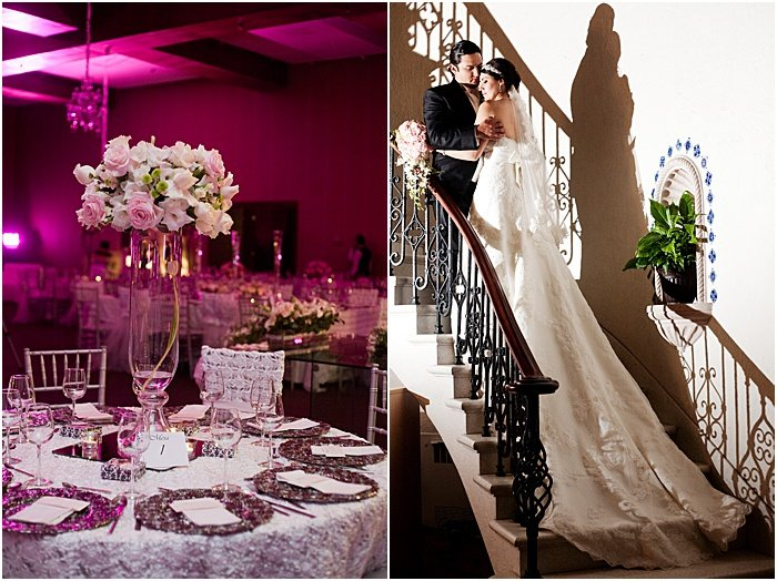 A wedding portrait diptych of the venue and the couple embracing on a stairs - wedding flash photography