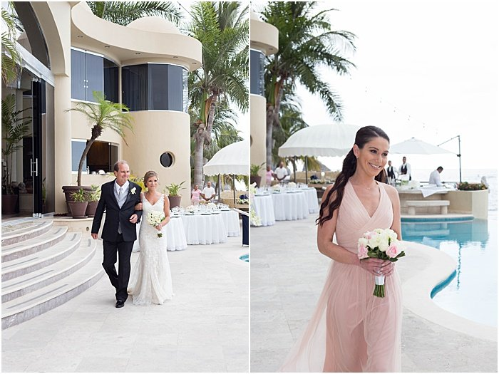 A wedding portrait diptych of the the bride and bridesmaids walked down the aisle. - wedding flash photography
