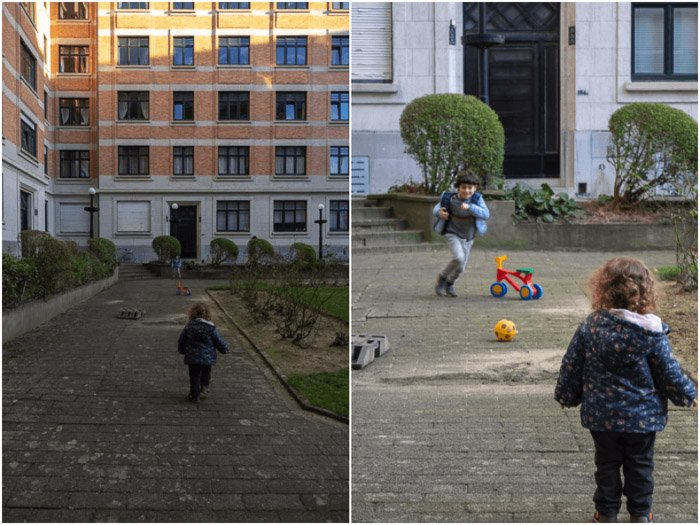 Diptych candid photo of a child playing outdoors showing the effect of perspective compression when moving from 24mm to 200 mm.
