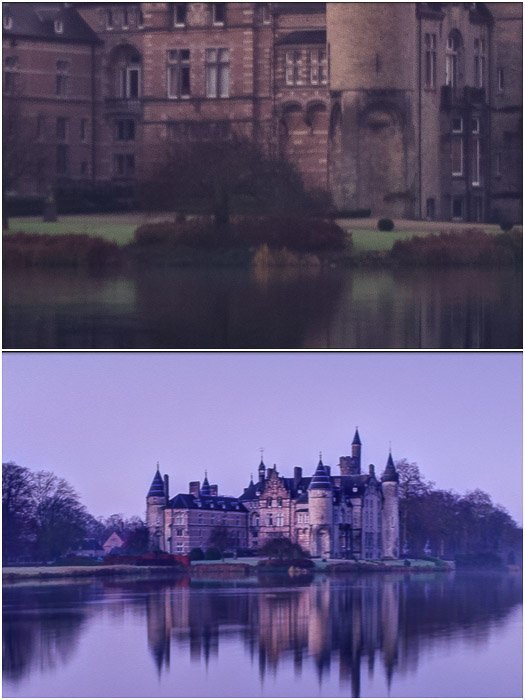Diptych photo showing details of a landscape panorama
