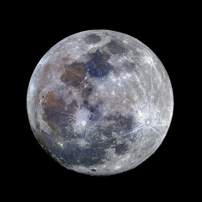 A close up of the supermoon moon at night - photographed at EFL 2500