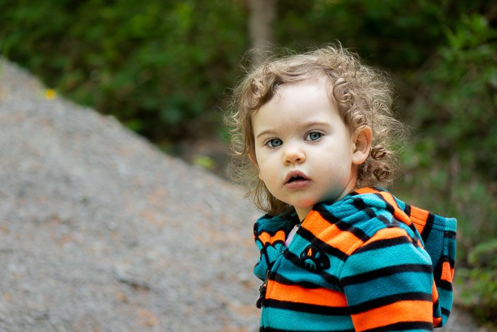 Sweet portrait of a young child outdoors