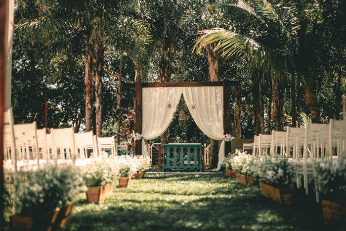 Setup for an outdoor wedding ceremony - fine art wedding photography