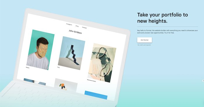 A screenshot of the Format homepage - best website builder for photography