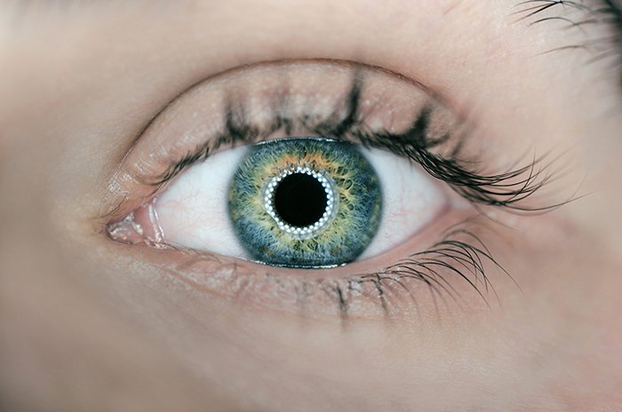 A stunning close up of a persons green eye shot using ring light photography