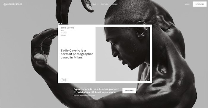 A screenshot of the Squarespace homepage - best website builder for photography