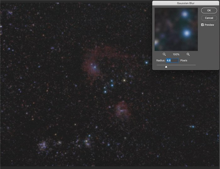 A screeenshot showing how to use the Filter-> Noise->Add Noise filter to add some artificial noise in astrophotography editing