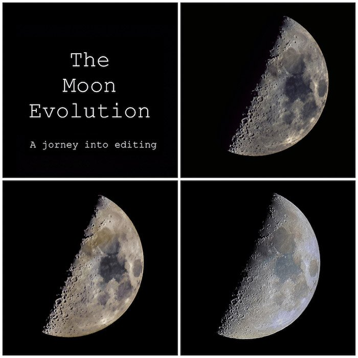 A four photo gris showing the moon evolution - astrophotography editing in Photoshop