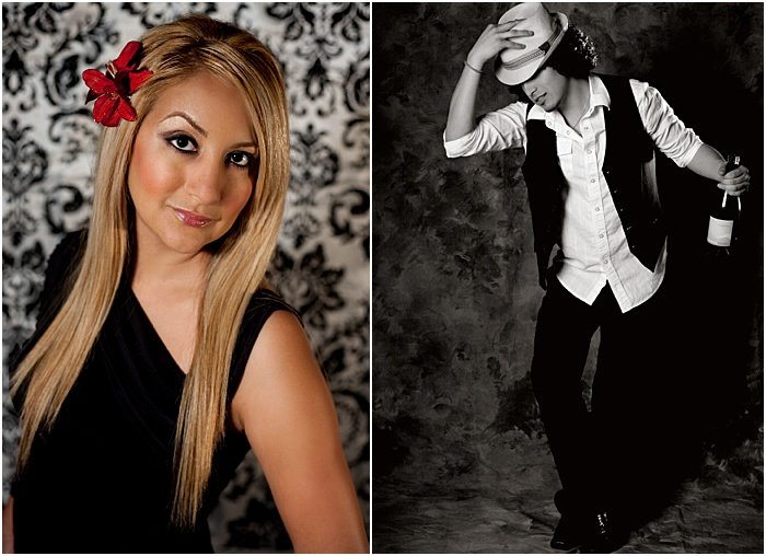 A diptych portrait of a female model and male model taken in a portable photo studio set up in client's home with different backgrounds and one softbox strobe light.