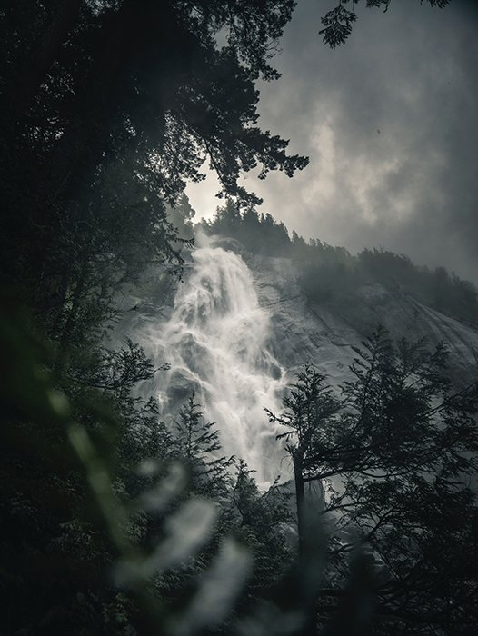Atmospheric shot of a flowing waterfall on a cloudy day - beautiful photography principles