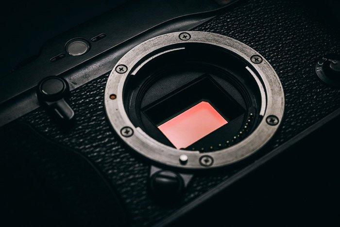 A close up of a camera sensor