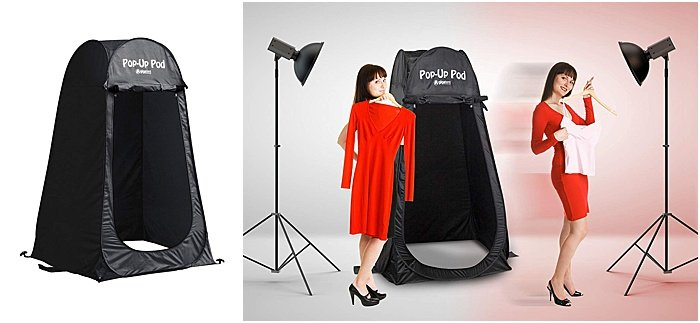 A GigaTent pop up changing tent for a portable photo studio