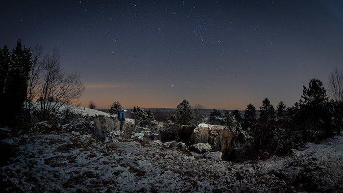 A stunning snowy landscape at night - cool fisheye photos