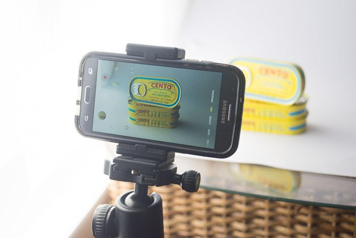 smartphone product photography  of a phone set up on a tripod to shoot product shots