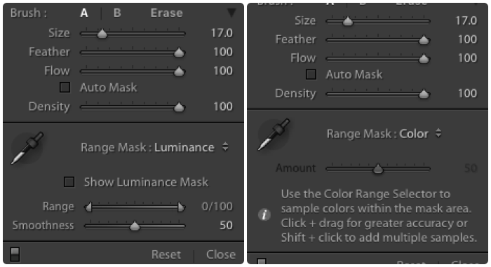 A split screenshot showing the difference between Auto Mask vs Range Mask in Lightroom