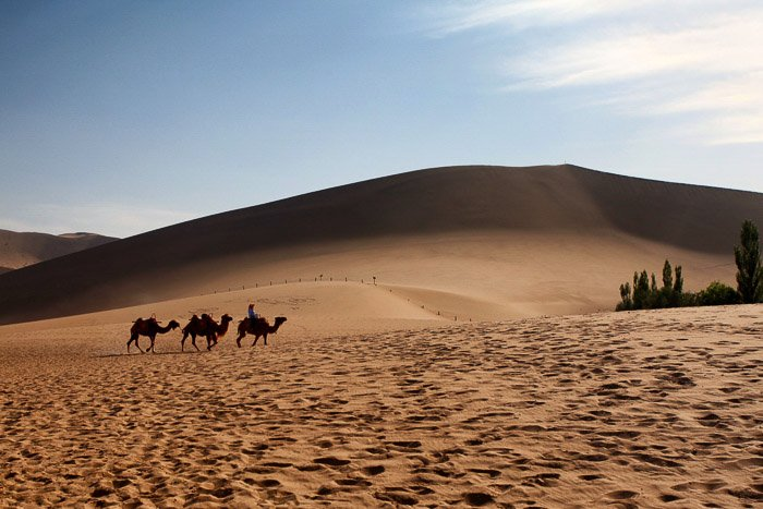 Three camel riders moving across a desert landscape - rule of space in composition
