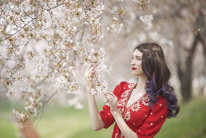 A femal model in red dress holding the branches of a cherry blossom tree