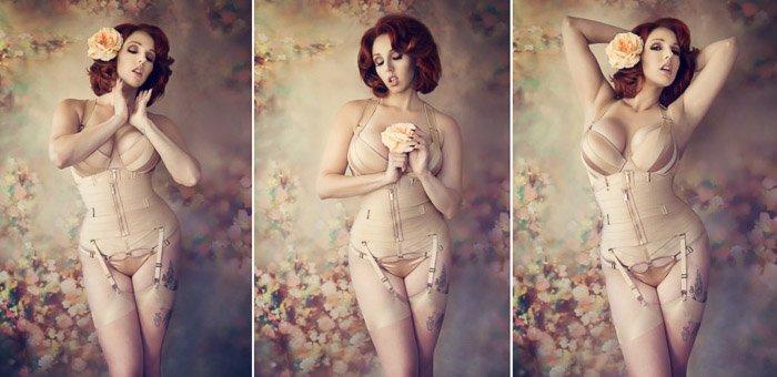 Sensual self portrait boudoir photography triptych of a female model posing in a lavish interior