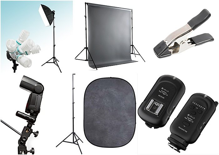 a range of photography equipment for a portable studio