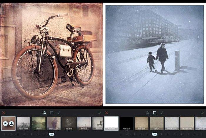 A screenshot of the Formulas app for adding textures to photos