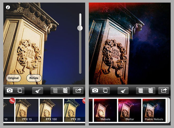 A screenshot of the Picfx app for adding textures to photos - texture filters