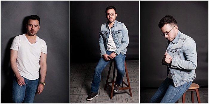 A triptych portrait of a male model taken in a portable photo studio