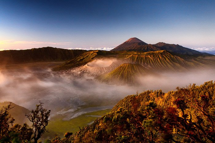 dramatic shot of Mount Bromo in Indonesia at dawn. -volcano and lava photography