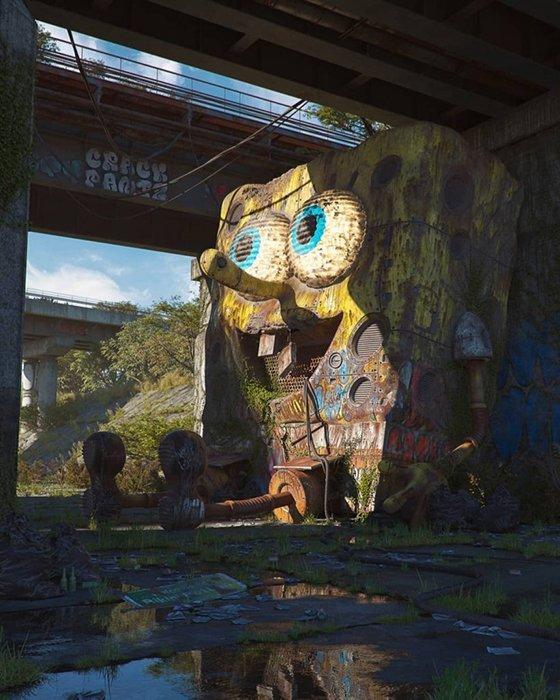 Fine art street photo of Spongebob in a post-apocalyptic world by Philippe Hodas.