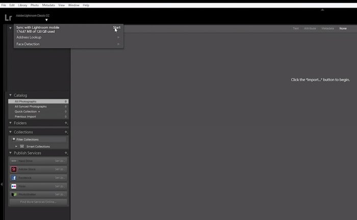 A screenshot showing how to sync Lightroom Mobile with your computer