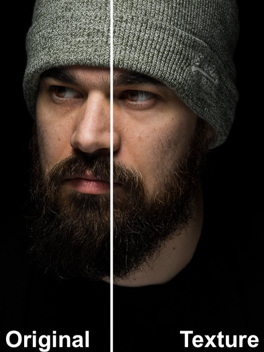 Split image showing the effects of Lightrooms texture control slider on a portrait of a male model