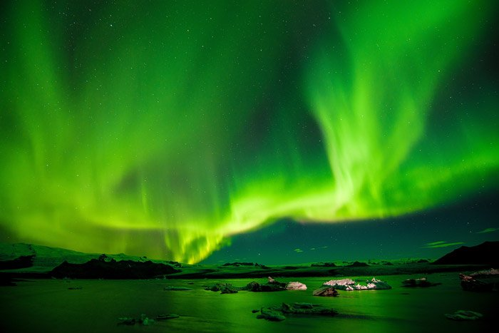 the norther nights over a seascape - stunning landscape photos