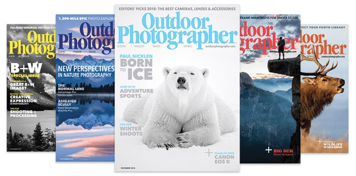 Five different covers of Outdoor Photographer - submitting photos to magazines