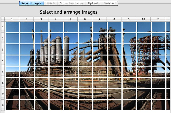 A screenshot of making Panoramic pictures with GigaPan photo stitching software