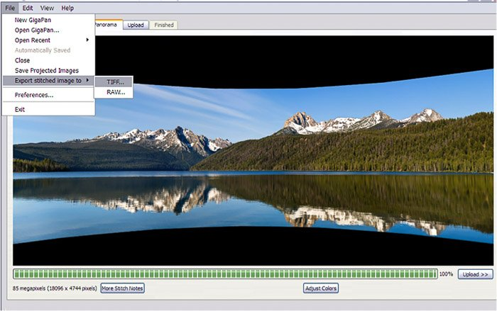A screenshot of exporting a panorama from GigaPan Stitch