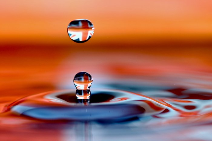 Impressive water drop photo caught mid-air by camera flash at high-speed sync